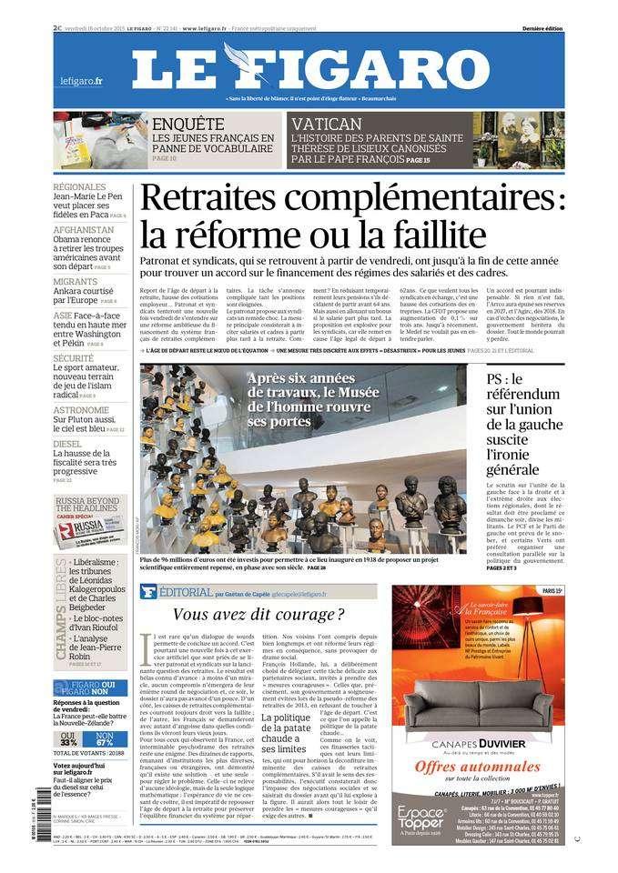 Le Figaro du Vendredi 16 Octobre 2015
