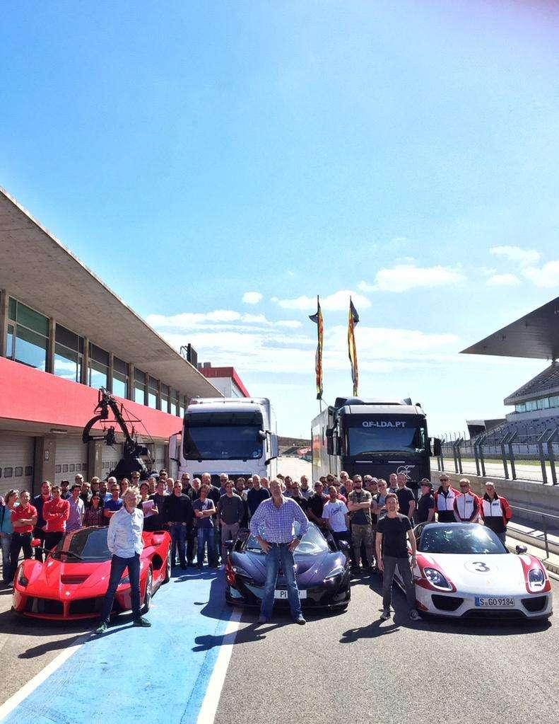 New Jeremy Clarkson, Richard Hammond and James May motoring program (Gear Knobs?) crew starts filming sessions in Autódromo Internacional do Algarve, Portimão