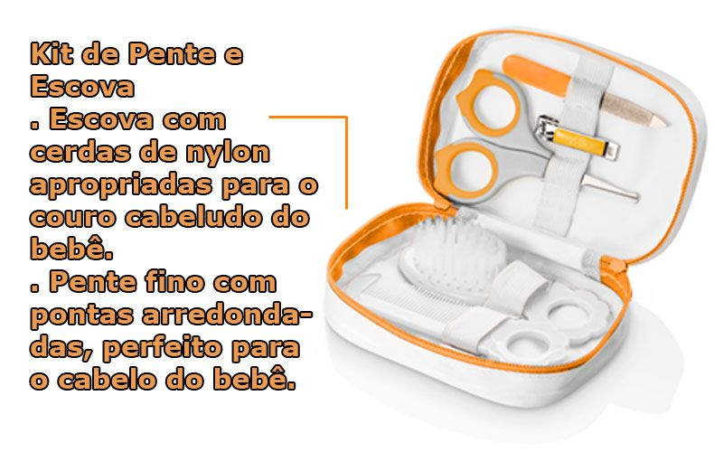 Cortador Unhas Bebe Criança Escova Pente Tesoura Lixa Estojo hardfast