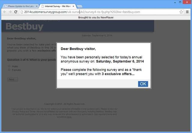 Удалить 2014 Customersurverygroup.com Pop Up