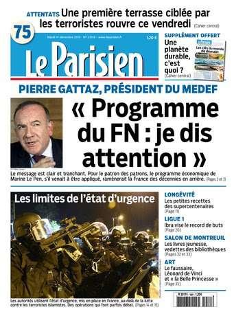 Le Parisien + Journal de Paris du mardi 1 décembre 2015