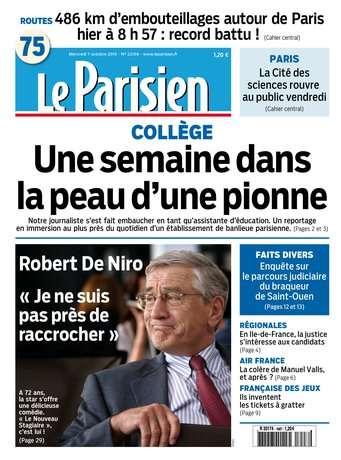 Le Parisien + Journal de Paris du Mercredi 7 octobre 2015