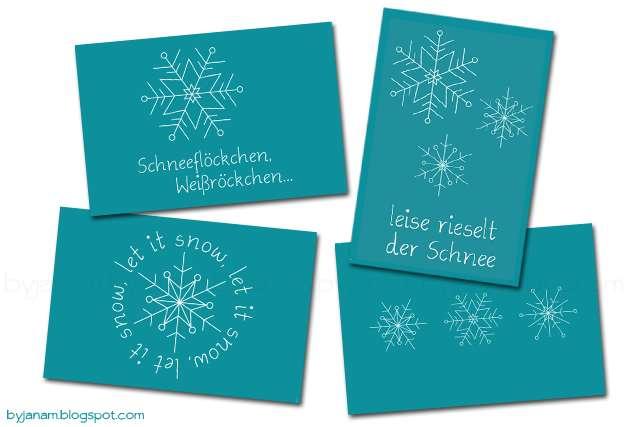 Postkarten mit Schneeflocken und Text