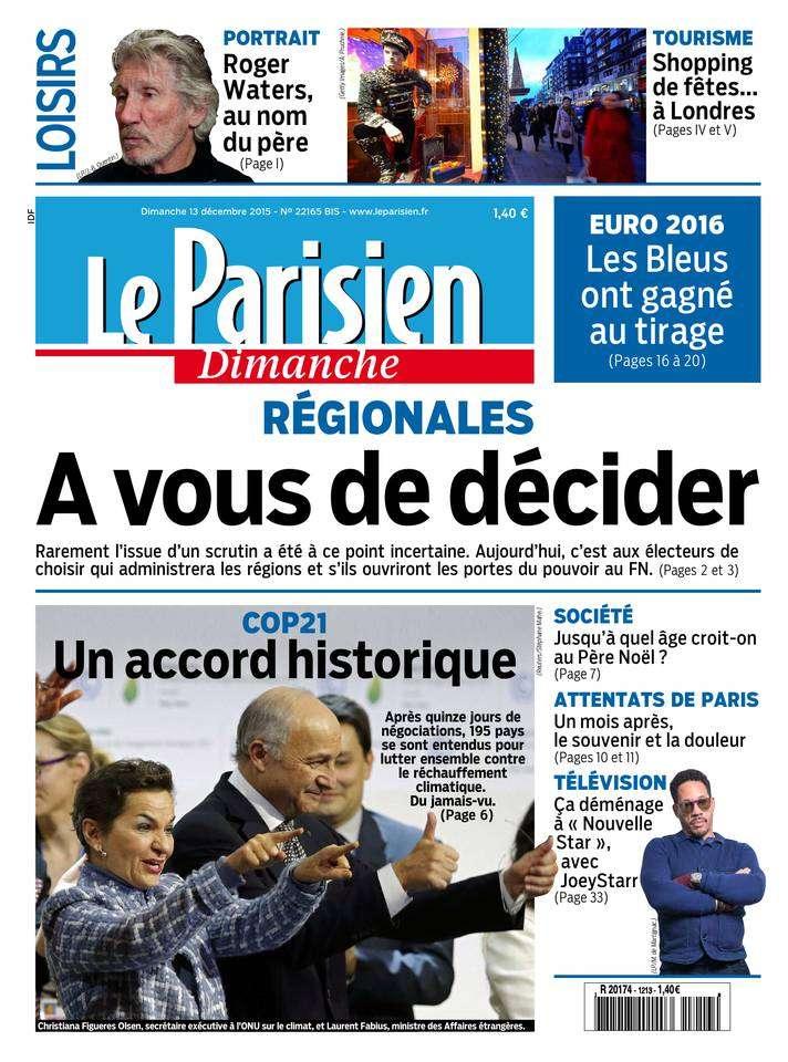 Le Parisien + Le Guide de votre Dimanche 13 Décembre 2015