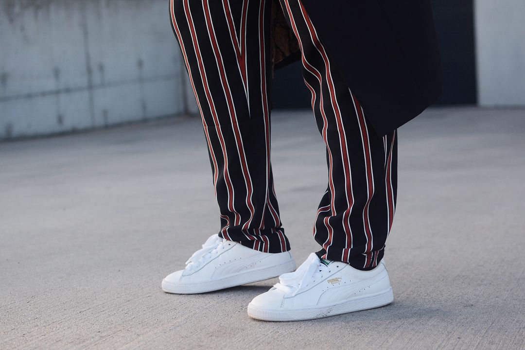 pyjama look, slouchy trousers, striped, puma basket