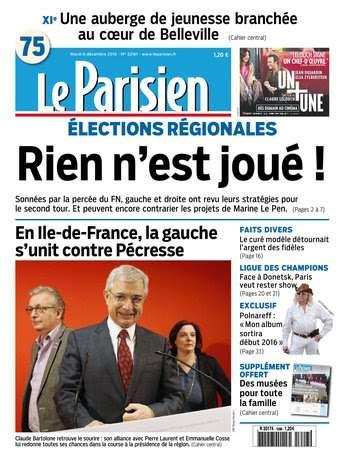 Le Parisien + journal de Paris du Mardi 8 Decembre 2015