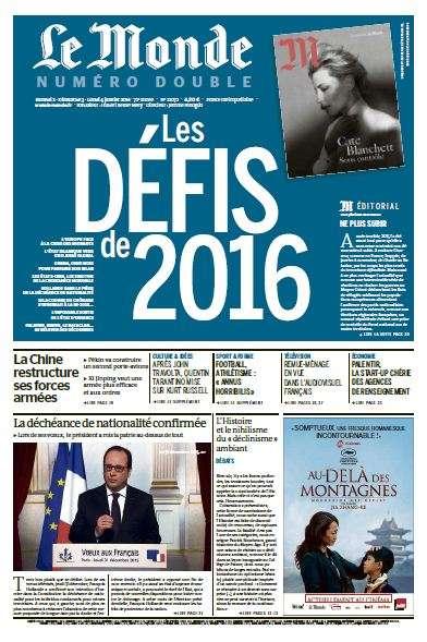 Le Monde du Samedi 2 Dimanche 3 et Lundi 4 janvier 2016