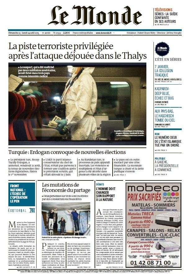Le Monde du Dimanche 23 et Lundi 24 Aout 2015