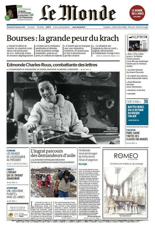 Le Monde du Vendredi 22 Janvier 2016