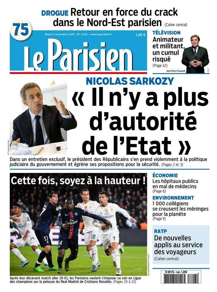 Le Parisien + Journal de Paris du Mardi 3 Novembre 2015