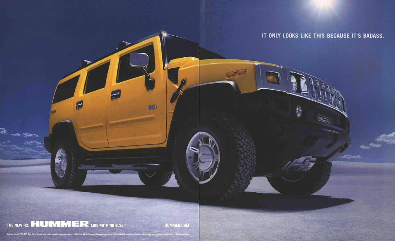 It only looks like this because it's badass. The new Hummer H2. Like nothing else.