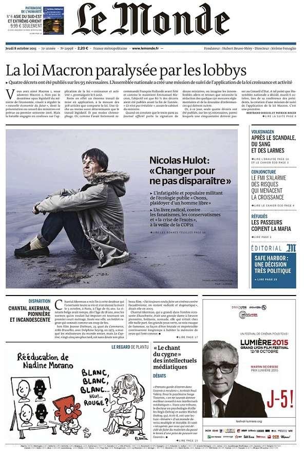Le Monde et Supplément du Jeudi 8 Octobre 2015