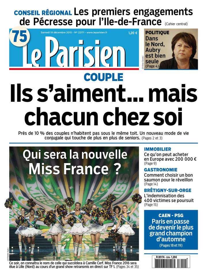 Le Parisien + Journal de Paris du Samedi 19 Décembre 2015