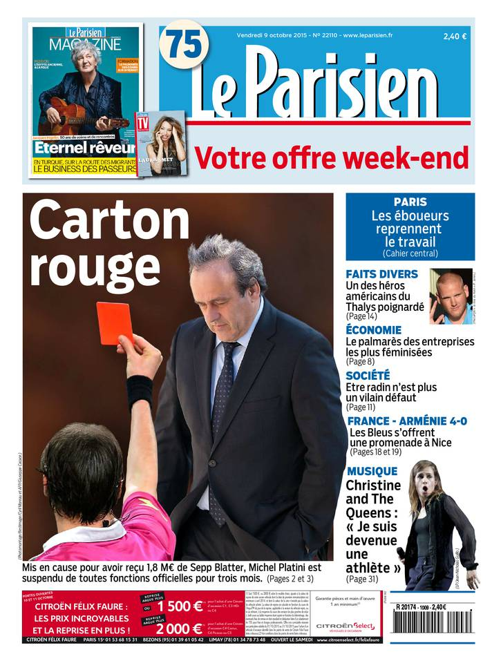 Le Parisien + Journal de Paris du Vendredi 9 Octobre 2015