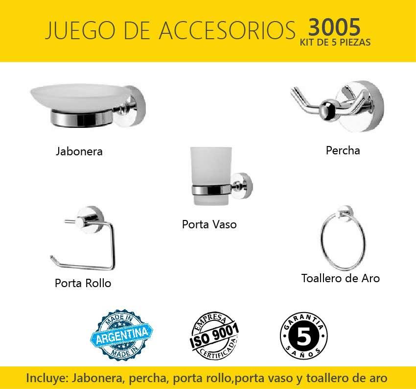 Set o kit de 5 piezas accesorios metal para ba o linea for Kit de accesorios para bano
