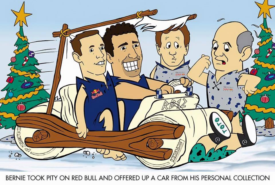 Red Bull Racing's 2015 Christmas Card - Bernie took pity on Red Bull and offered up a car from his personal collection...