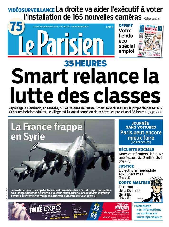Le Parisien + Journal de Paris du Lundi 28 Septembre 2015