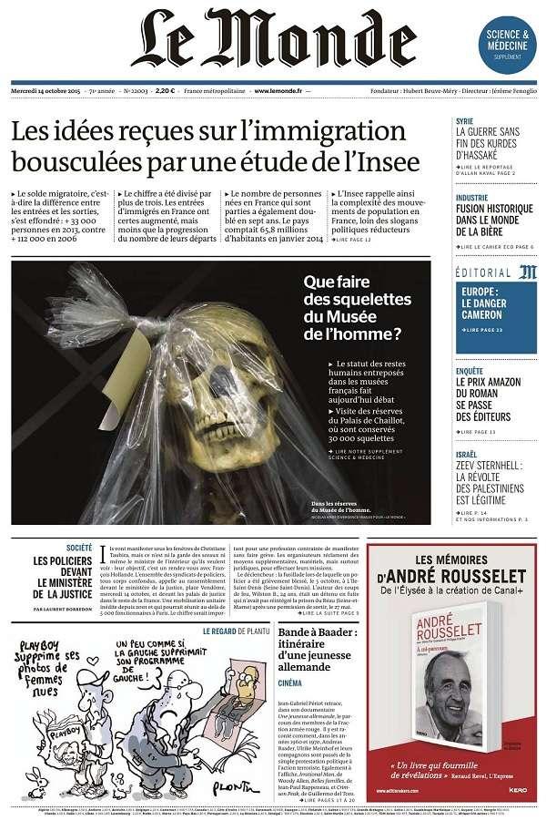 Le Monde et 2 Suppléments du Mercredi 14 Octobre 2015