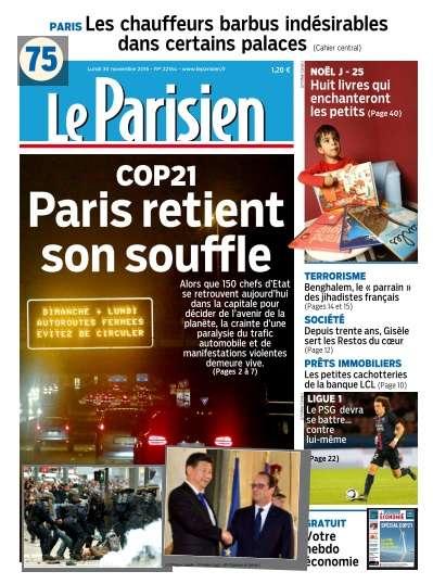 Le Parisien + Journal de Paris du lundi 30 novembre 2015