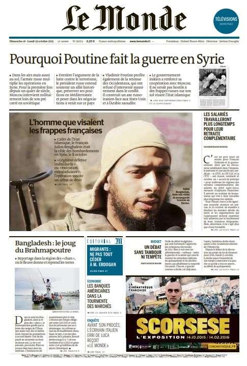 Le Monde et 2 Suppléments du Dimanche 18 et Lundi 19 Octobre 2015