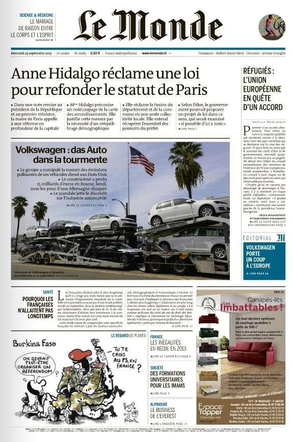Le Monde et 2 Suppléments du Mercredi 23 Septembre 2015