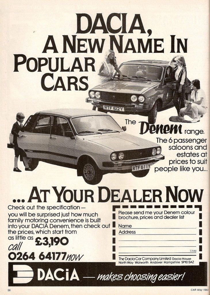 Dacia Denem, a new name in popular cars, at your dealer now. Check out the prices, which start from as little as £3,190.
