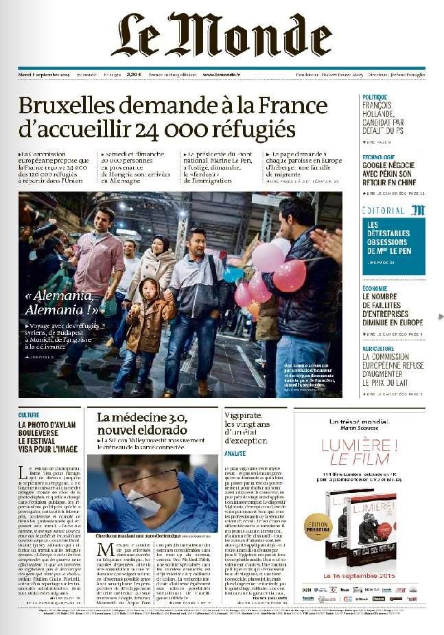 Le Monde du Mardi 8 Septembre 2015