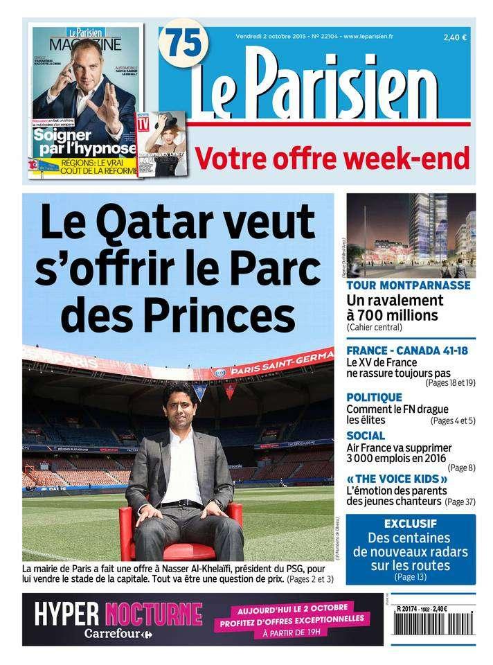 Le Parisien + Journal de Paris du Vendredi 2 Octobre 2015