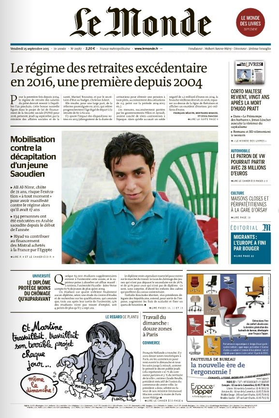 Le Monde et 2 Suppléments du Vendredi 25 Septembre 2015