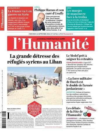 L'Humanite Du Mercredi 16 Septembre 2015