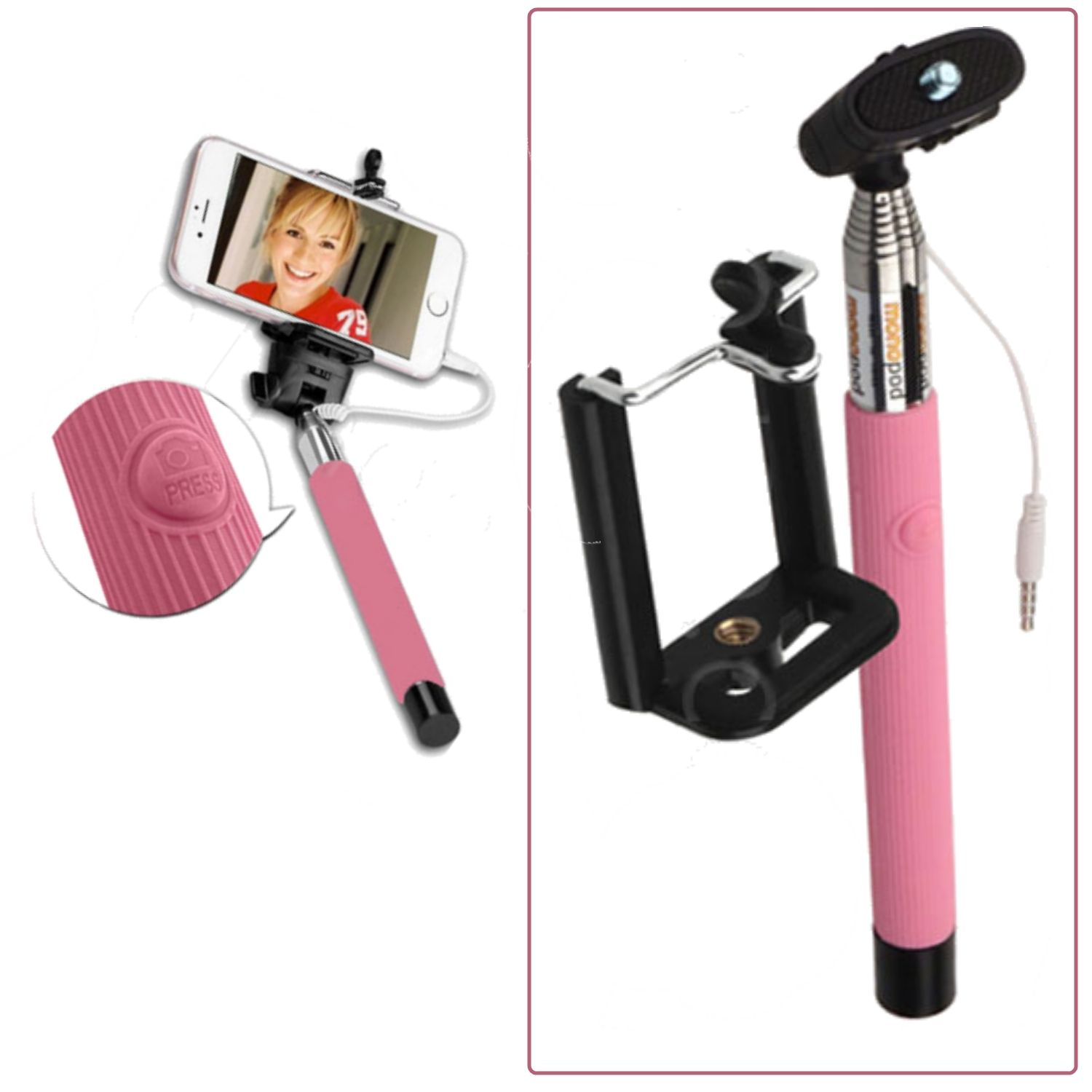 pink selfie stick monopod with aux cable auxiliary for latest smartphones ebay. Black Bedroom Furniture Sets. Home Design Ideas