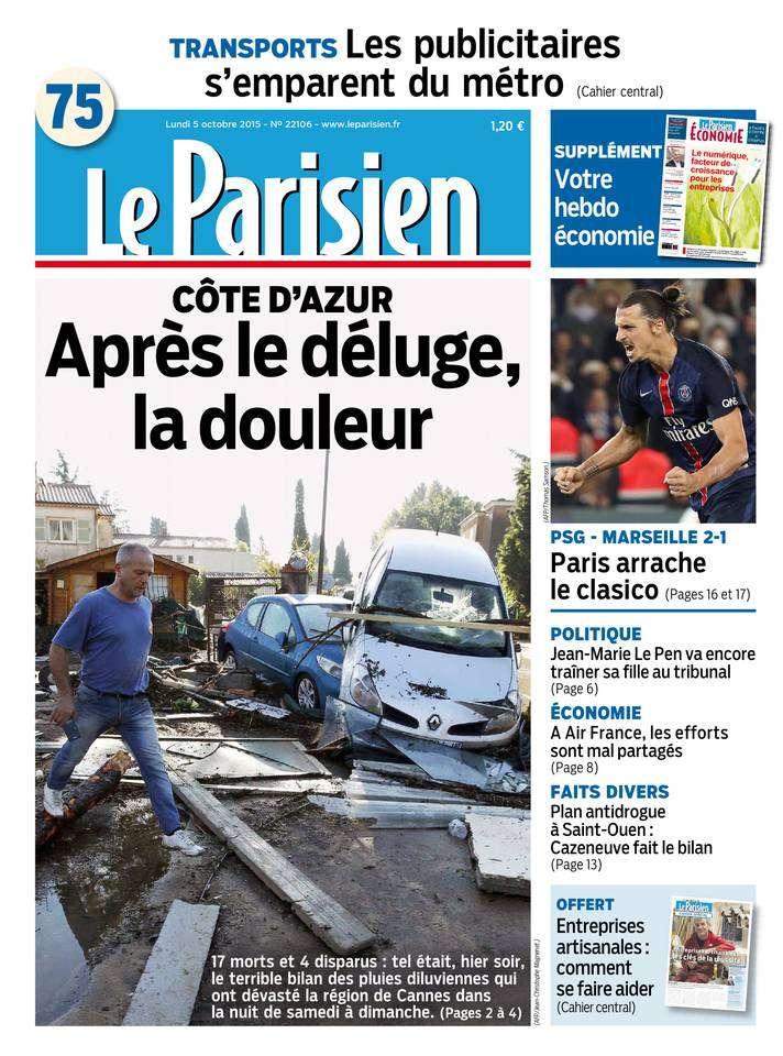 Le Parisien + Journal de Paris du Lundi 5 Octobre 2015