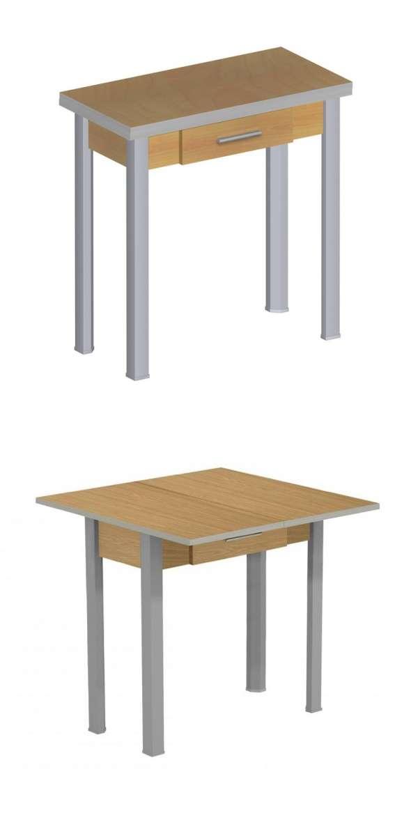 Mesa plegable extensible color nogal y gris con cajon de - Mesa plegable pequena ...