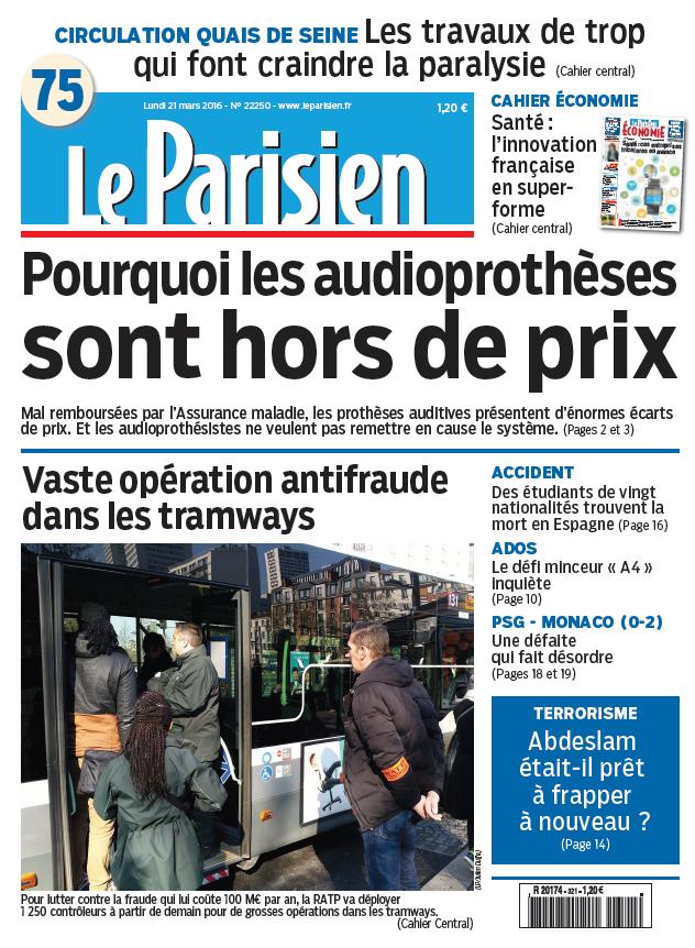 Le Parisien + Journal de Paris du Lundi 21 mars 2016