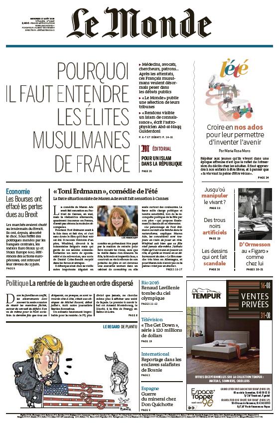 Le Monde du Mercredi 17 Août 2016