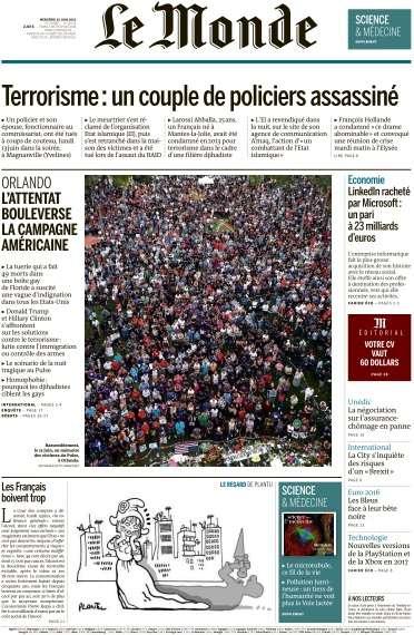 Le Monde du Mercredi 15 Juin 2016