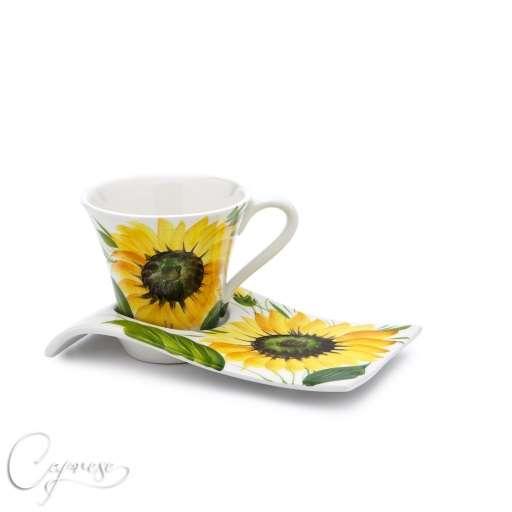 bassano keramik tasse untertasse 9 cm hoch sonnenblumen motiv aus italien neu ebay. Black Bedroom Furniture Sets. Home Design Ideas