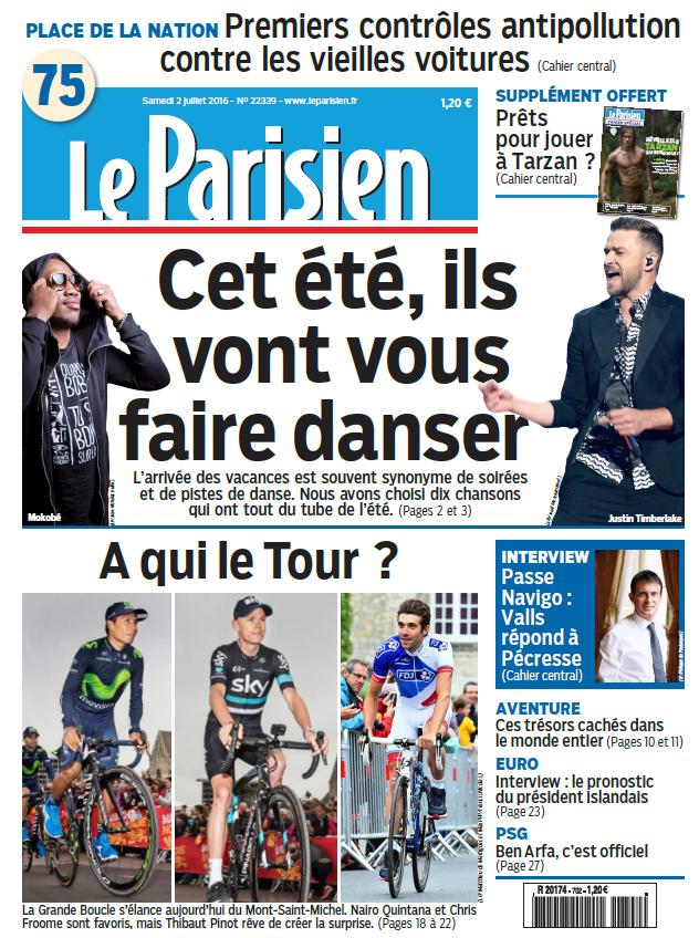 Le Parisien + Journal de Paris du Samedi 2 Juillet 2016