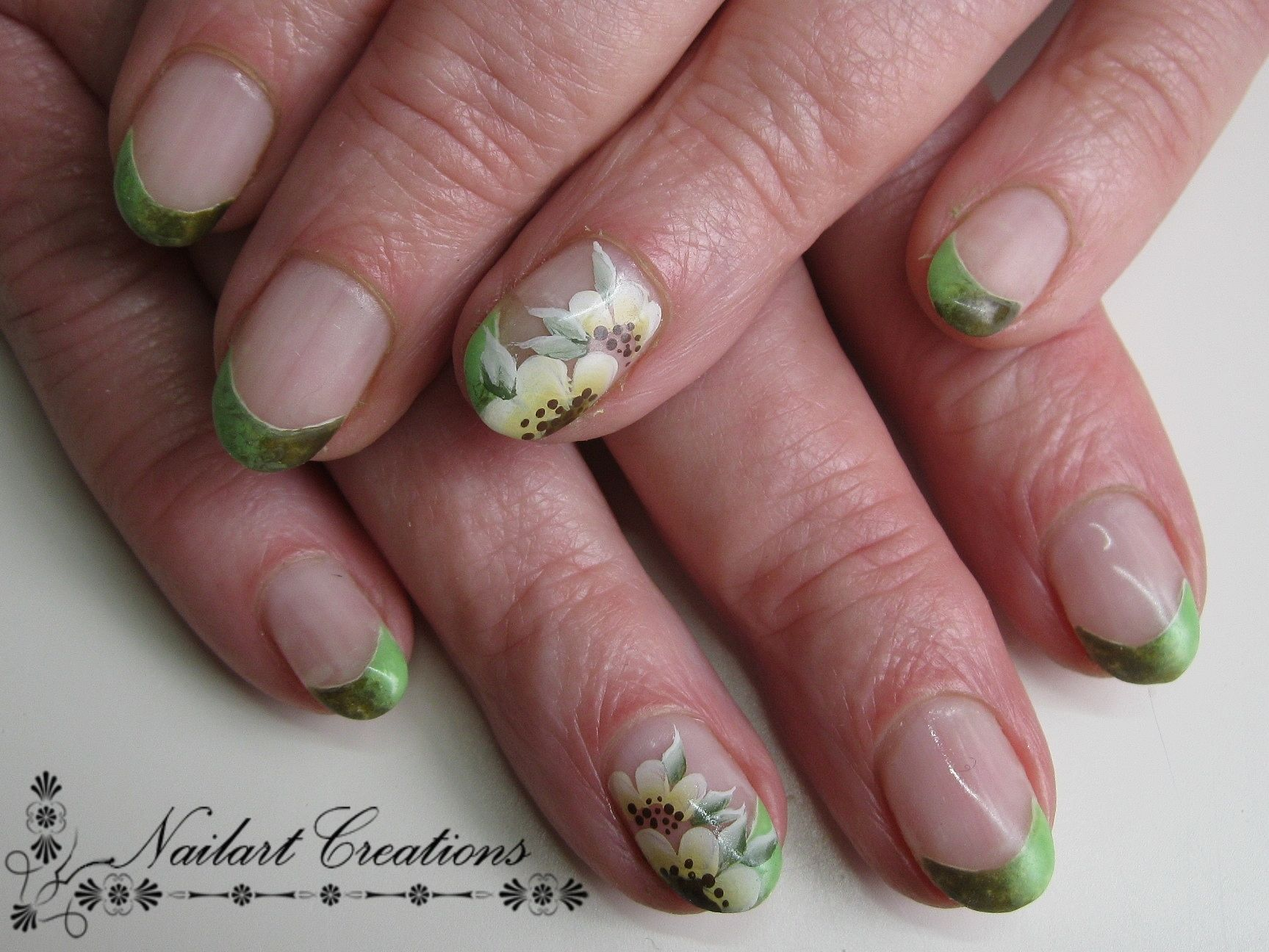 Nailart Creations Gelnagels Army Green One Stroke