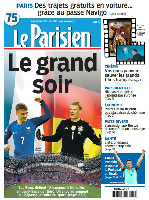 Le Parisien + Journal de Paris du Jeudi 7 Juillet 2016