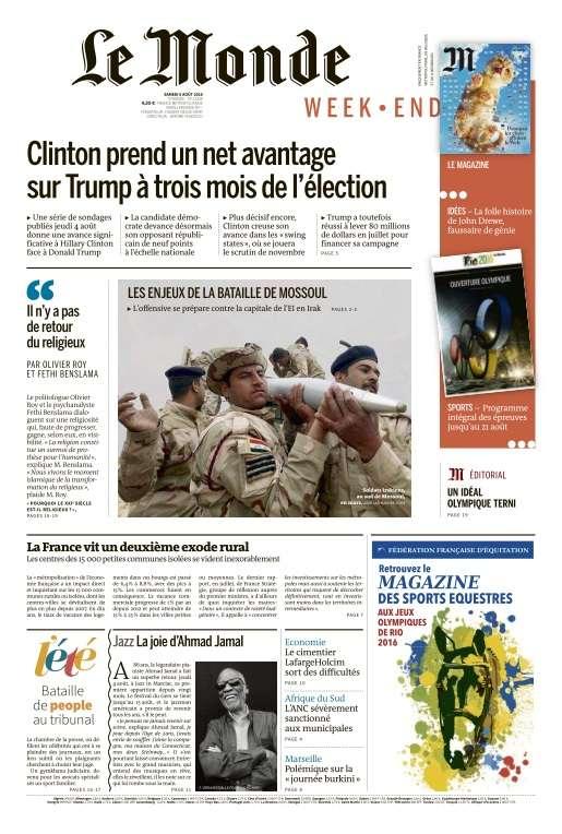 Le Monde du Samedi 6 Août 2016