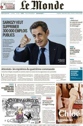 Le Monde du Vendredi 10 Mars 2016