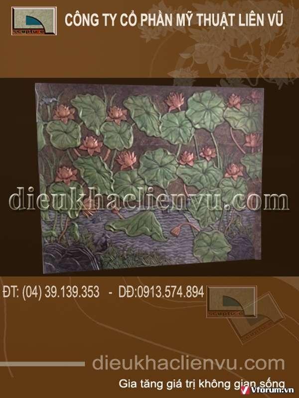 Phù điêu đầm sen trang trí cho tiền sảnh