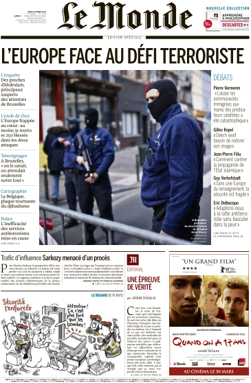 Le Monde du Jeudi 24 Mars 2016