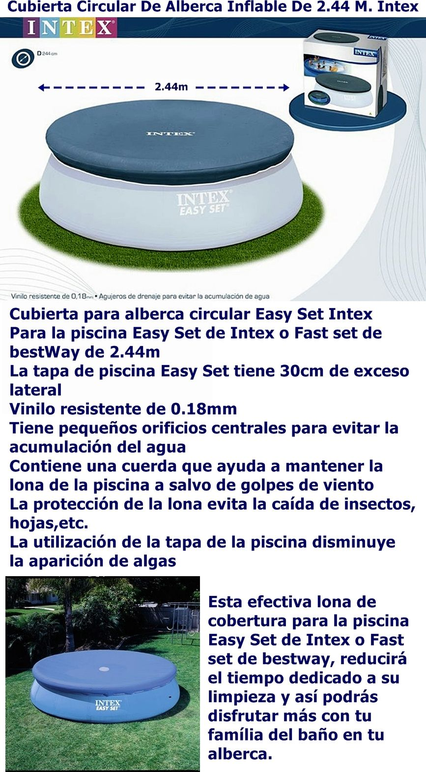 Cubierta tapa circular de alberca inflable de m intex for Cubierta para alberca intex