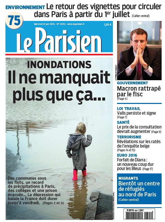 Le Parisien + Journal de Paris du Mercredi 1 Juin 2016