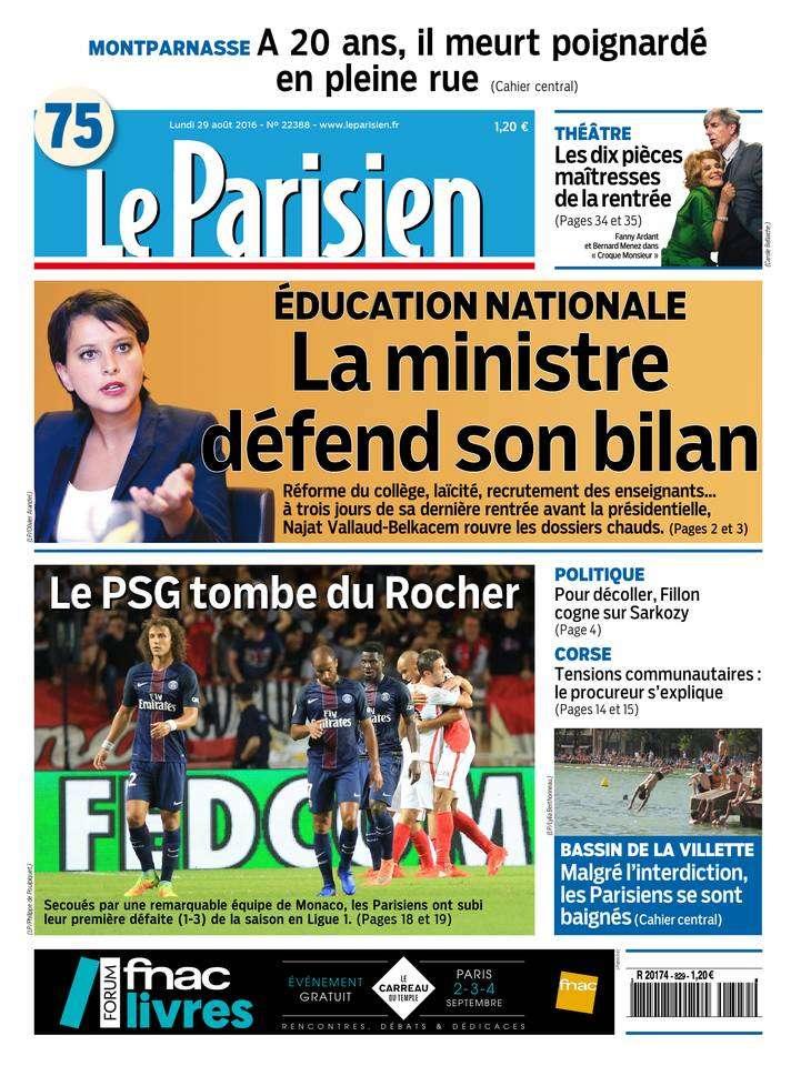 Le Parisien et Journal de Paris du lundi 29 aout 2016