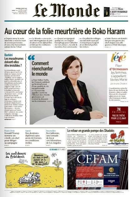 Le Monde du Vendredi 19 Août 2016