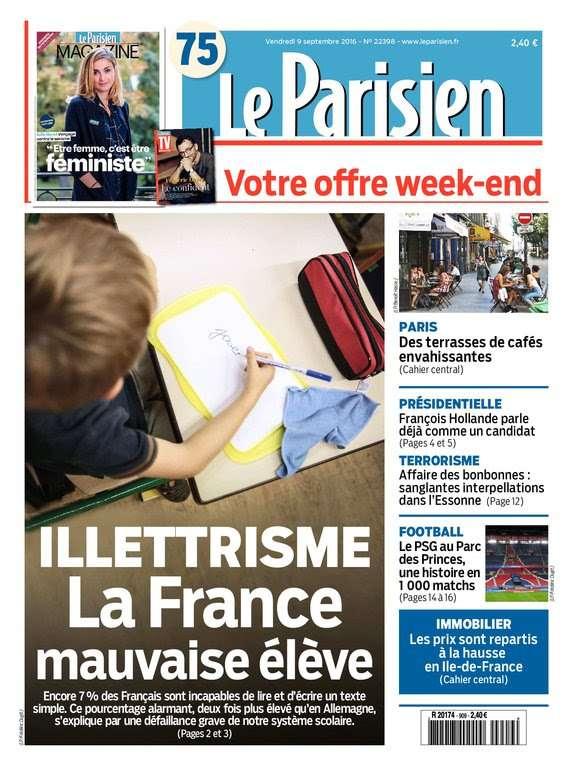 Le Parisien + Journal de Paris du Vendredi 9 Septembre 2016