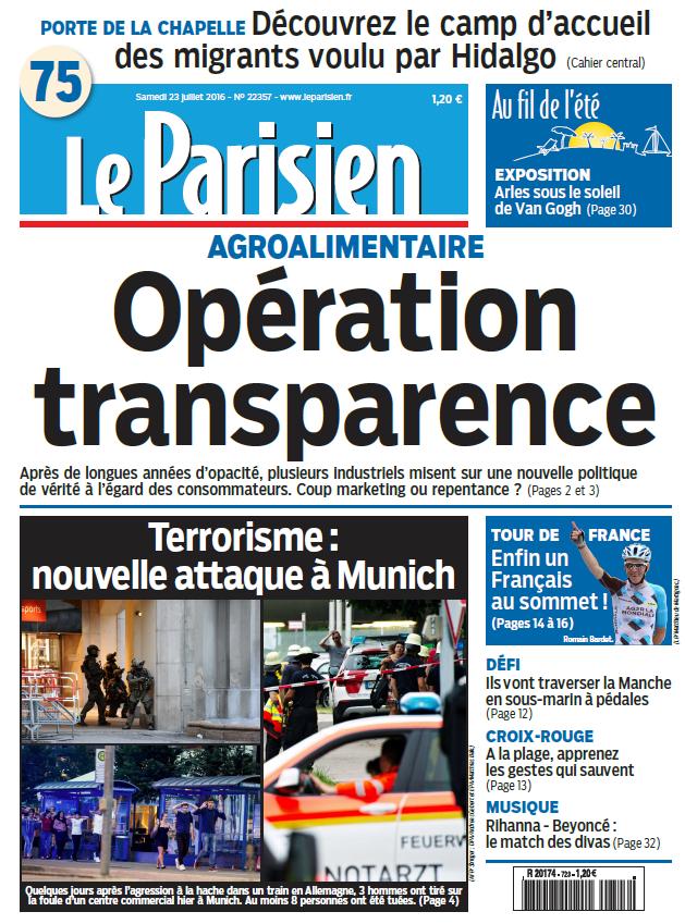 Le Parisien + Journal de Paris du Samedi 23 Juillet 2016